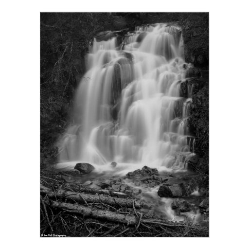 Mount Rainier National Park Waterfall BW Print