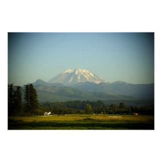 Mount Rainier over Farm Print