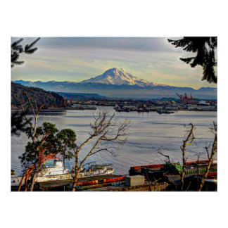 Mount Rainier Overlooks The Port of Tacoma Poster