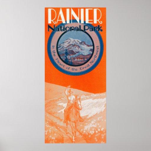 Mount Rainier Poster - Horseback Riding