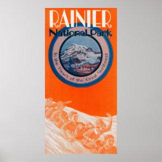 Mount Rainier Poster - Sledding