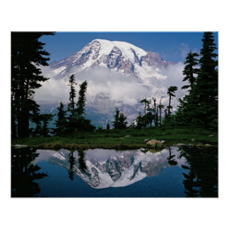 Mount Rainier relected in a mountain tarn Poster