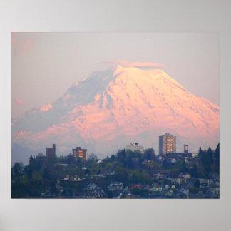 Mount Rainier Sunset Landscape Photo Poster