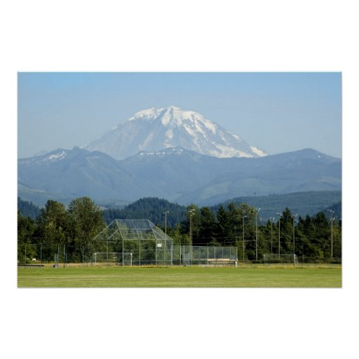 Mount Rainier Towers over Soccer Field Posters