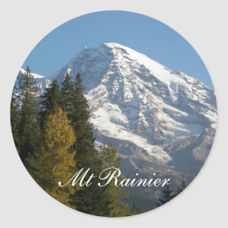 Mount Rainier View Photo Classic Round Sticker