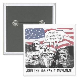 Mount Rushmore Tea Party Gear Pinback Button