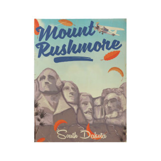 Mount Rushmore Vintage Style travel poster. Wood Poster