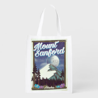Mount Sanford Alaska Reusable Grocery Bag