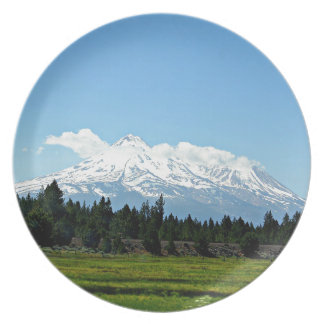 Mount Shasta California Mountain Landscape Nature Plate