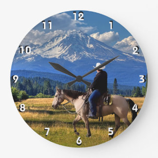 MOUNT SHASTA WITH A HORSE AND RIDER LARGE CLOCK