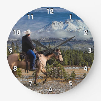 MOUNT SHASTA WITH HORSE AND RIDER LARGE CLOCK