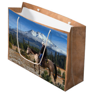 MOUNT SHASTA WITH HORSE AND RIDER LARGE GIFT BAG