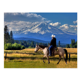 MOUNT SHASTA WITH HORSE AND RIDER POSTCARD