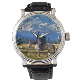 MOUNT SHASTA WITH HORSE AND RIDER WATCH