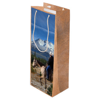 MOUNT SHASTA WITH HORSE AND RIDER WINE GIFT BAG
