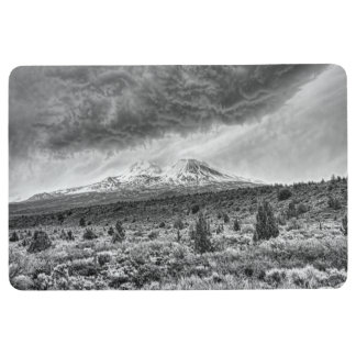 MOUNT SHASTA WITH STORMY CLOUDS FLOOR MAT