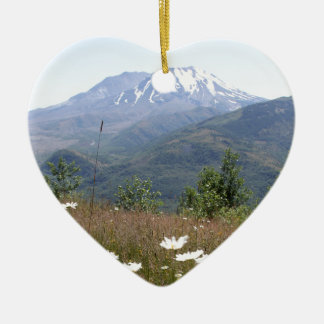 Mount St. Helens Ceramic Heart Decoration