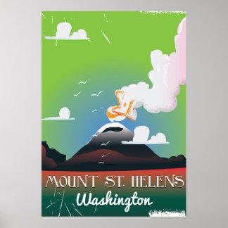 Mount St. Helens vintage travel poster. Poster