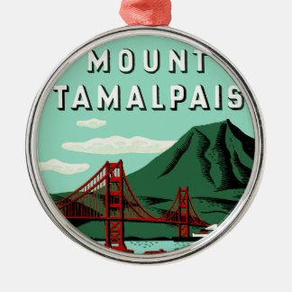 Mount Tamalpais Travel Poster Silver-Colored Round Decoration
