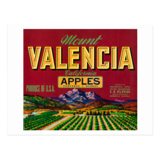 Mount Valencia Apple Label - Watsonville, CA Postcard