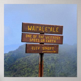 Mount Waialeale Sign, Kauai, Hawaii Poster