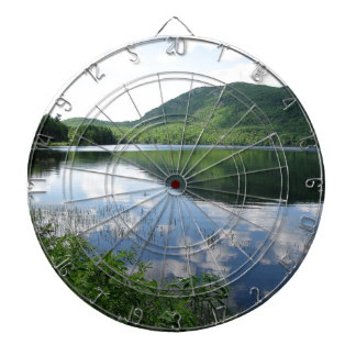 Mountain and Clouds Reflect on Rockland Watershed Dartboard