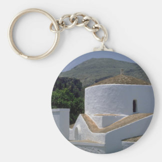 Mountain and whitewashed building, Lindos, Rhodes, Keychain