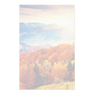 Mountain autumn forest landscape stationery