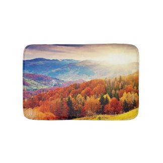 Mountain autumn forest landscape bath mats