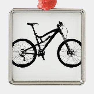 Mountain Bike - Black on White Metal Ornament