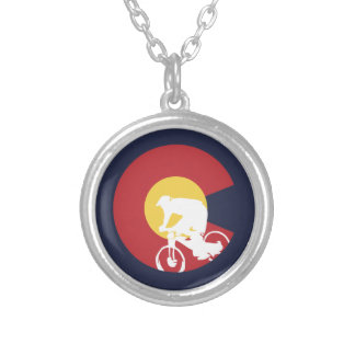 Mountain Bike Colorado Silver Plated Necklace