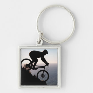 Mountain Bike Rider. Lions Head, Cape Town Silver-Colored Square Key Ring