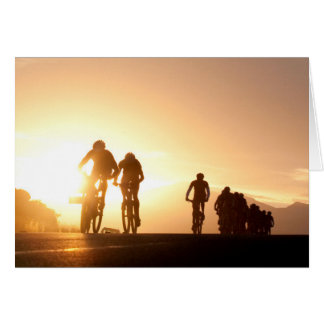 Mountain Bike Riders Make Their Way Over The Top Greeting Card