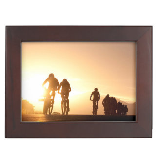Mountain Bike Riders Make Their Way Over The Top Keepsake Boxes