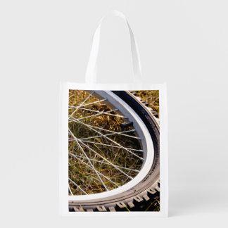 Mountain Bike Tire Closeup Reusable Grocery Bag