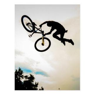Mountain Biker Air Time Silhouette Postcard