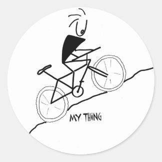 mountain biking classic round sticker