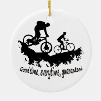 Mountain Biking Good Time Inspirational Quote Ceramic Ornament