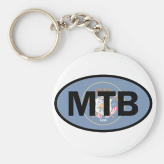 Mountain Biking Utah Flag Key Ring