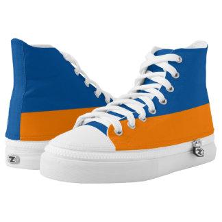 Mountain Blue and Orange Two-Tone Hi-Tops Printed Shoes
