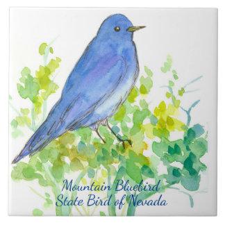 Mountain Bluebird Nevada State Bird Watercolor Ceramic Tile