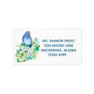 Mountain Bluebird Syringa White Watercolor Flowers Label