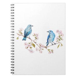 Mountain Bluebirds on Sakura Branch Notebooks