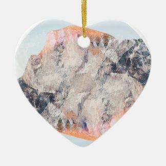 Mountain Ceramic Heart Decoration
