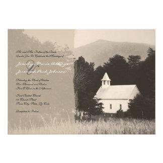 Mountain Church Vintage Wedding Invitation