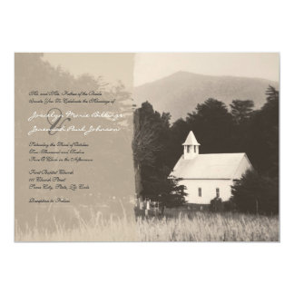 Mountain Church Vintage Wedding Invitation