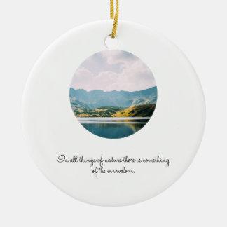 Mountain Circle Photo Inspirational Quote Ceramic Ornament