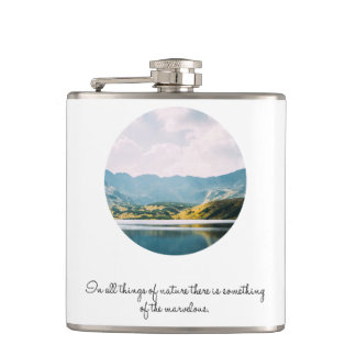 Mountain Circle Photo Inspirational Quote Hip Flask