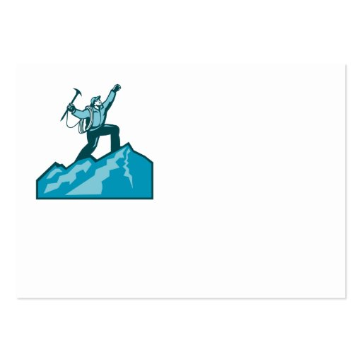 Mountain Climber Summit Retro Business Cards
