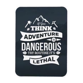 Mountain climbing adventure Routine is lethal typo Rectangular Photo Magnet